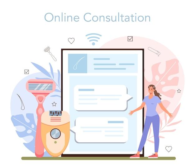 Онлайн-сервис или платформа для депиляции и эпиляции. методы удаления волос. идея ухода за телом и кожей и красоты. онлайн-консультация. плоские векторные иллюстрации