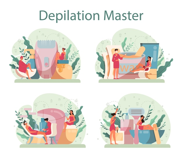 Depilation and epilation concept set. hair removal methods idea.