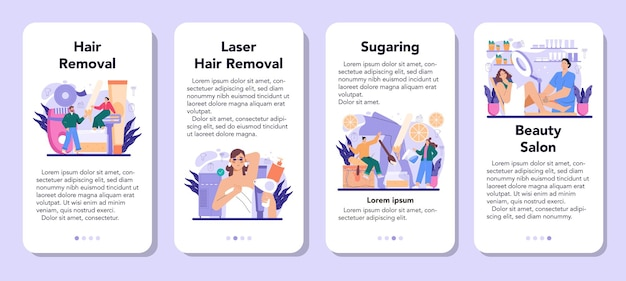 Depilation and epilation mobile application banner set. hair removal methods. idea of body and skin care and beauty. sugaring and laser hair removal. isolated vector illustration