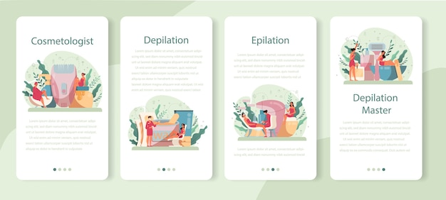 Depilation and epilation mobile application banner set. hair removal methods idea. epilation beauty procedure. idea of body and skin care and beauty.