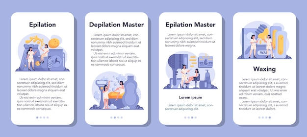 Depilation and epilation mobile application banner set