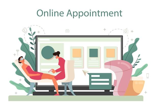 Depilation and epilation online service or platform. hair removal methods idea. online appointment.