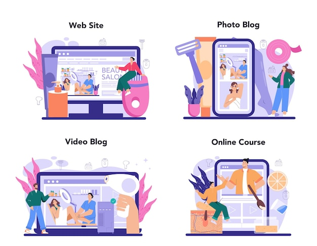 Depilation and epilation online service or platform set. hair removal methods. sugaring and laser hair removal. online course, photo and video blog, website. isolated vector illustration