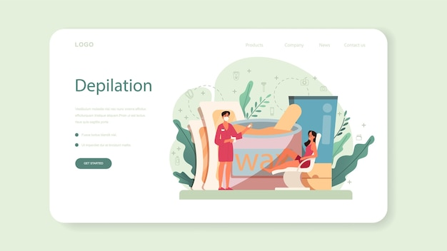 Depilation and epilation web banner or landing page. hair removal methods idea. epilation beauty procedure. idea of body and skin care and beauty.