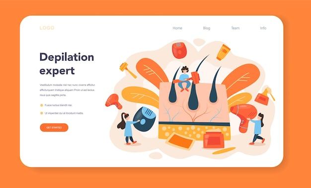 Depilation and epilation web banner or landing page
