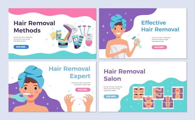 Depilation horizontal banners set with hair removal methods flat isolated vector illustration