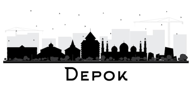 Depok indonesia city skyline silhouette with black buildings isolated on white