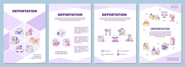Deportation brochure template. official removal from country. flyer, booklet, leaflet print, cover design with linear icons. vector layouts for presentation, annual reports, advertisement pages