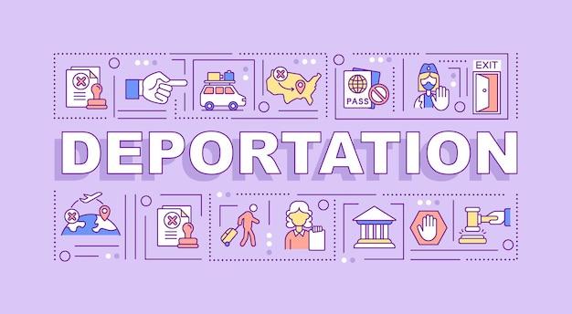 Баннер концепции слова депортации. официальный вывоз из страны. инфографика с линейными значками на фиолетовом фоне. изолированная творческая типография. векторная иллюстрация цвета наброски с текстом
