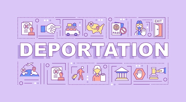 Deportation word concepts banner. official removal from country. infographics with linear icons on purple background. isolated creative typography. vector outline color illustration with text