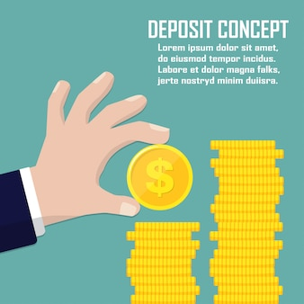 Deposit concept. hand holding dollar coin in a flat design