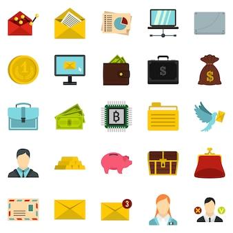 Deposit icons set, cartoon style