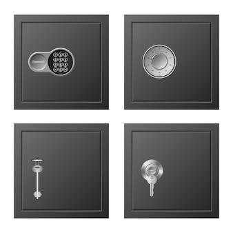 Deposit icons set, realistic style