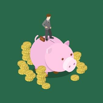お金の貯金等尺性概念図を預金します。ビジネスマンは大きな貯金箱貯金箱に立っています。