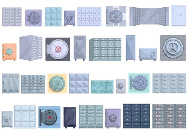 예금 방 아이콘을 설정합니다. 웹 디자인을 위한 예금 방 벡터 아이콘의 만화 세트