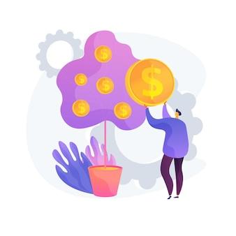입금 인출. 은행 고객이 대출을 받고 있습니다. 돈 대출, 투자 수익, 급여 지불. 은행가, 예금자는 나무에서 동전을 뽑습니다.