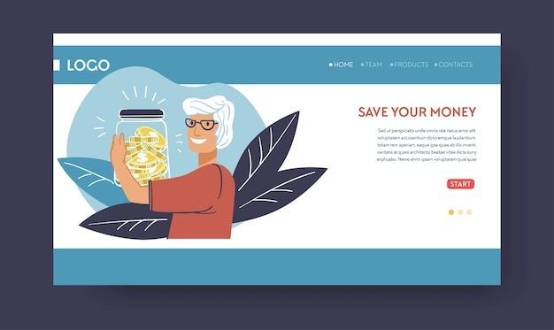 Deposits and banking, save your money. senior person with financial assets in jar, getting salary or pension. retirement with sum for living. website or web page landing template, vector in flat style