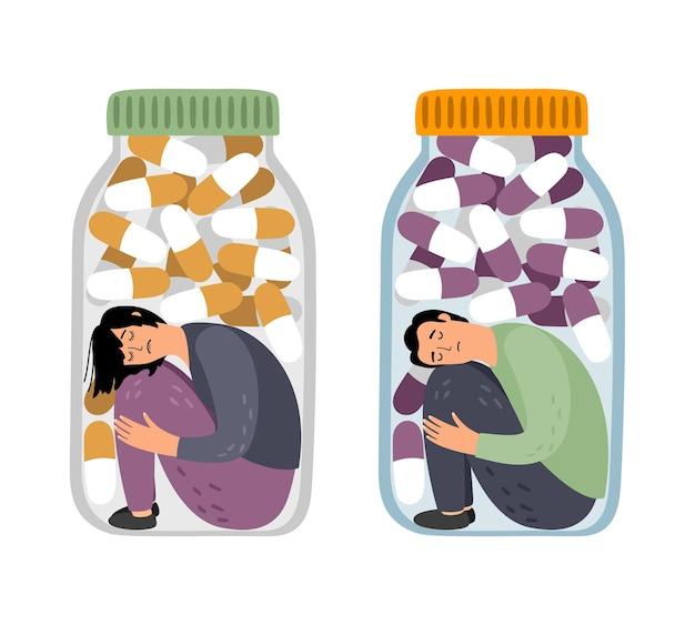 마약을 가진 비난받는 사람들. 우울증에 남자와 오피오이드 위기에 여자, 약 중독 개념 그림