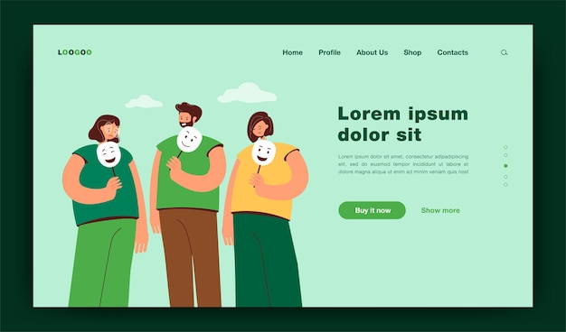 Depressed and angry people holding masks with happy faces for hiding their emotions.  illustration for personality, psychology, depression concept landing page