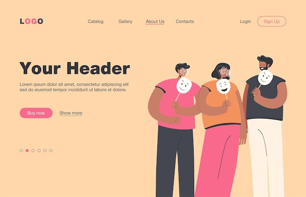Depressed and angry people holding masks with happy faces for hiding their emotions.  landing page. for personality, psychology, depression concept