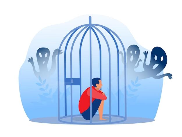 Подавленный мальчик в тюрьме с тревогой и страшными фантазиями, чувствуя печаль