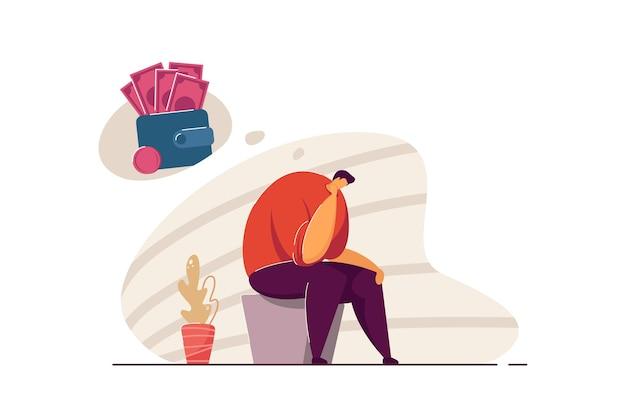 우울한 파산 사람은 빚과 돈 문제가 있습니다. 우울증과 재정적 문제로 고통받는 파산자