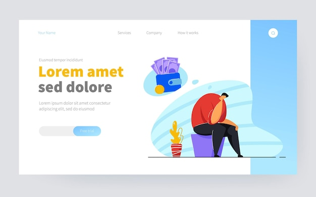 Depressed broke person having debts and money troubles. bankrupt suffering from depression and financial problems. vector illustration bankruptcy, crisis, loss concept