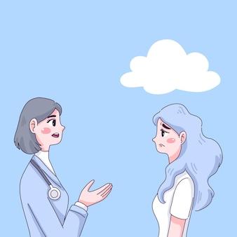 落ち込んでいる女の子と医者のキャラクター