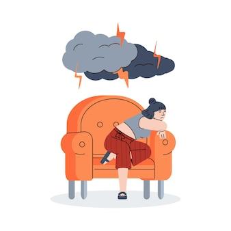 Depressed girl sitting under lightnings from dark clouds illustration