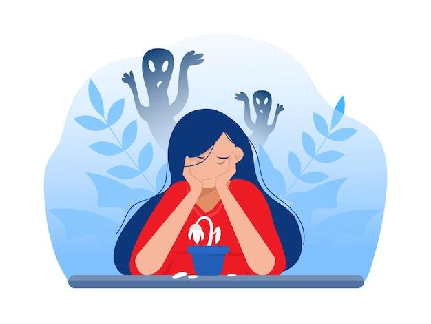 Подавленная девушка с тревогой и страшными фантазиями, чувствуя печаль, страхи, печаль векторные иллюстрации
