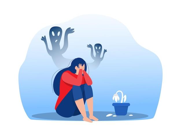 슬픔, 두려움, 슬픔 벡터 삽화를 느끼는 불안과 무서운 환상을 가진 우울한 소녀