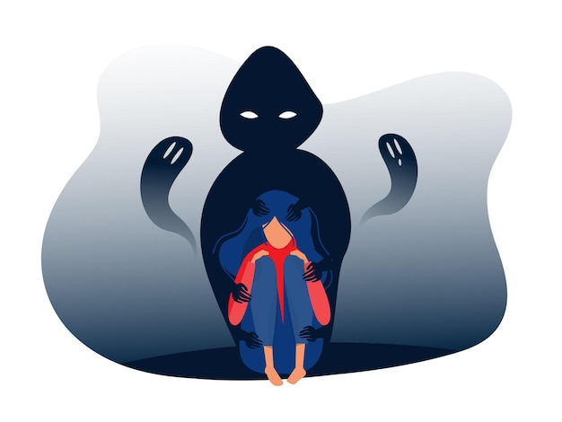 Depressed girl with anxiety and scary fantasies feeling sorrow,fears, sadness vector illustration