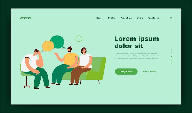 Depressed people counseling with psychologist isolated flat  illustration. cartoon characters talking with doctor on psychotherapist sessions. group therapy and support concept landing page