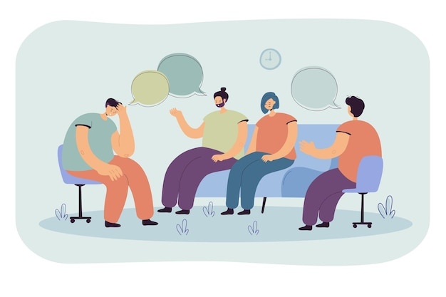 Depressed people counseling with psychologist isolated flat  illustration. cartoon illustration