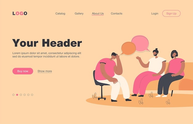 Depressed people counseling with psychologist isolated flat  landing page. cartoon characters talking with doctor on psychotherapist sessions. group therapy and support concept