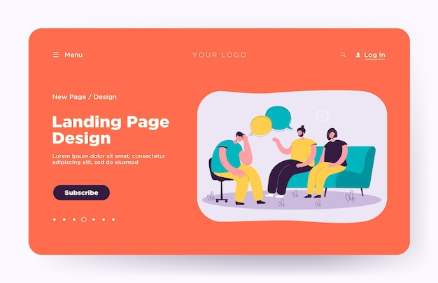 Depressed people counseling with psychologist isolated landing page