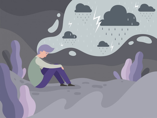 Depressed people. loneliness alone in the city tired man rainy weather concept