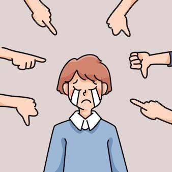우울 사람 슬픈 실패 영감 귀여운 만화 일러스트 실망