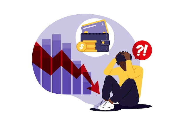 Подавленный грустный африканский человек думает о проблемах. банкротство, потеря, кризис, концепция проблемы. иллюстрация. плоский.