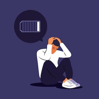 問題について考えている落ち込んでいる悲しい男。破産、損失、危機、トラブルの概念。
