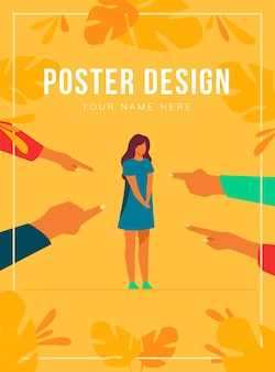 Depressed sad woman standing as victim poster template