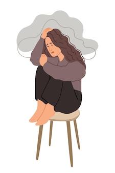 비 구름 아래에 앉아 우울 된 불행 소녀 여자