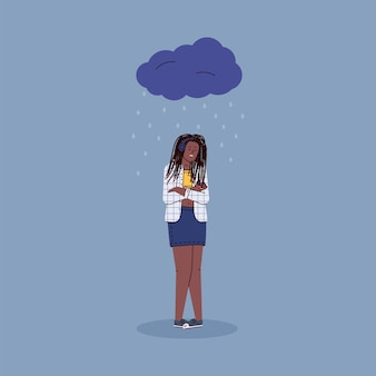 Depressed unhappy woman cartoon character standing under rain clouds