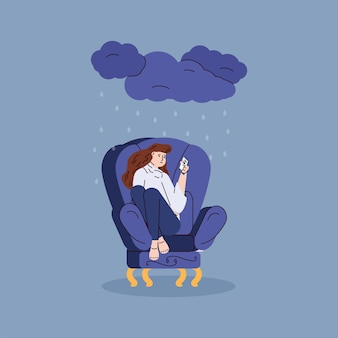 Depressed upset woman reads chat on mobile phone screen a vector illustration