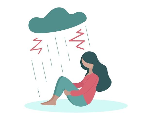 우울한 여자 혼자 우울증 개념 구름과 비 아래 앉아 슬픈 소녀