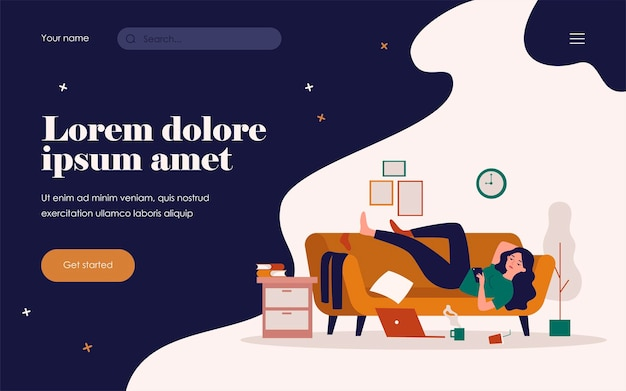 Depressed woman lying on couch in messy room isolated flat vector illustration. cartoon lazy character resting on sofa at home and surfing internet on smartphone. apathy and indifference concept