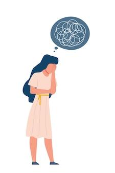 うつ病の女性。抑圧された無秩序な心、孤独なストレスと不安。不幸な女性と線としての厄介な考えは、心理療法の漫画フラットベクトル分離イラストの前に否定的な感情を落書き