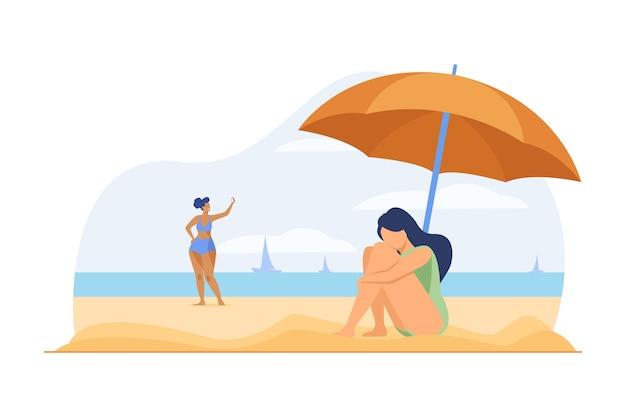 Donna depressa sulla spiaggia del mare. ragazza triste che si siede sulla sabbia sotto l'ombrello piatta illustrazione vettoriale. depressione grave, vacanze, solitudine