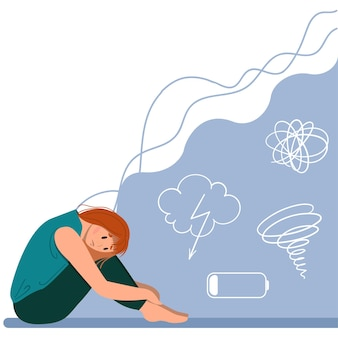 Подавленная молодая несчастная девушка сидит и обнимает колени. понятие о психическом расстройстве. красочные векторные иллюстрации в плоском мультяшном стиле.