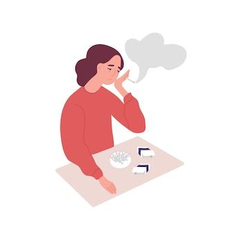 우울된 젊은 여자 흡연 담배. 담배 중독, 나쁜 습관, 부정적인 행동의 개념. 정신 질환, 행동 문제, 정신 질환. 플랫 만화 벡터 일러스트 레이 션.